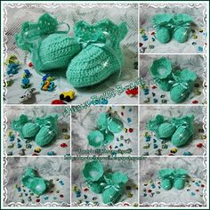 Ana Belli: Botinha Verde Água em Lã de Crochê