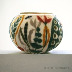 "10.5"" (h) x 14.5"" (w) wet-felted, botanical-themed vessel by Kim Buchheit"