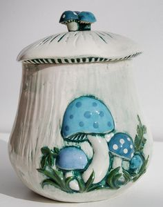 Vintage Arnels Mushroom Ceramic Cookie Jar Canister by suzincolo, $17.00