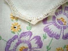 Items similar to Embroidered Dresser Scarf Vanity Table Top Runners,Crochet Lace Edge Purple Flowers,RePurposed Embroidery Small Custom Bedroom Bath Curtains on Etsy Scarf Display, Crochet Lace Edging, Vanity Tops, Custom Curtains, Purple Flowers, Table Runners, Repurposed, Dresser, Scarves