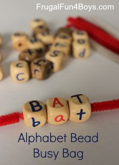 Alphabet Beads Busy Bag - The post has two activities for using the beads!