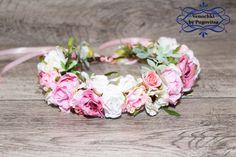 Pink flower crown, Flower headband, wedding flower crown, bridal flower crown…
