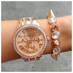 Rose Gold or Silver Geneva Watch with Spike Stud Bracelet on Etsy, $48.00