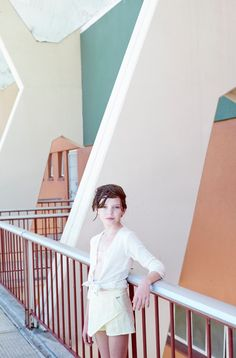 Cool summer shades in this pool location for Milk magazine kids summer fashion shot by Tim Marsella