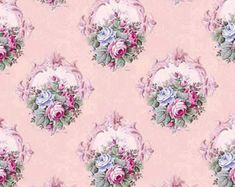 Dolls House Miniature Wallpaper 1/12th or 1/24th scale Quality Paper Pink Dollhouse #38