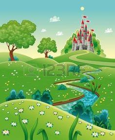 chateau de conte de fées: Panorama avec le château. Caricature et illustration vectorielle.
