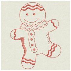 Gingerbread Man Redwork embroidery design