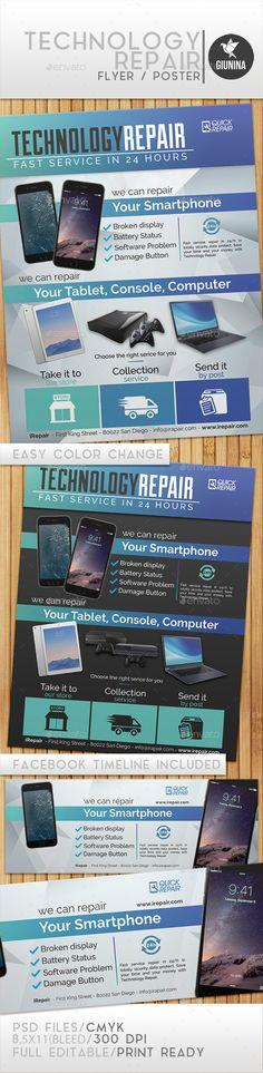 Technology Repair Flyer/Poster Template #design Download: http://graphicriver.net/item/technology-repair-flyerposter/12244759?ref=ksioks