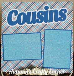 "Up for your consideration is (1) Completed Single Scrapbook Page Layout. The title says ""Cousins"". This scrapbook page can hold (2) 4x6 or smaller photos. Just add photos!"