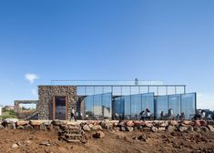 Platform_a completes cafe on Jeju's coast with volcanic stone