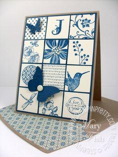 blue patchwork card