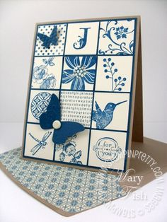 Monochromatic collage mosaic - Mary does such Gorgeous work!!! stampin Up!