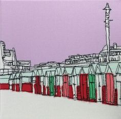 Beach Huts Embroidery Art Canvas by gillianbates on Etsy
