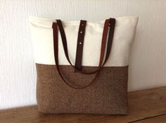 Canvas Tote bag with leather handles and herringbone wool, by MeryBradley on Etsy