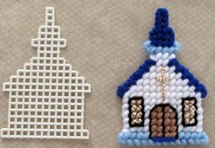 Plastic Canvas Church Chapel with Sample Cut Out by AdelesCrafts