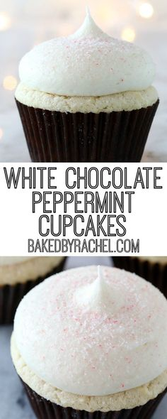 Moist homemade white chocolate cupcakes with white chocolate peppermint cream cheese frosting