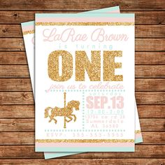 Printable Pink and Gold Carousel Birthday Invitation Merry Go