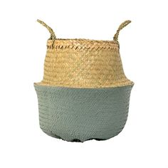 Seagrass Basket w/ Handles in Natural & Blue by Bloomingville
