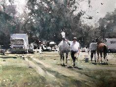 Joseph Zbukvic, Watercolors, Past, Carnival, Scene, Racing, Horses, French, Detail