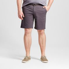 Men's Big & Tall Belted Flat Front Chino Shorts Gray 52 - Mossimo Supply Co.