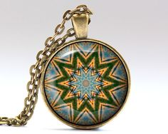 Unique Sacred jewelry. Amazing Mandala pendant with a chain or a leather cord. Gorgeous Spiritual necklace in bronze or silver finish. SIZE: 25 mm (1
