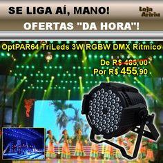 OFERTA! Canhão OPT PAR64 54 TriLEDs 3W RGBW DMX Áudio-Rítmico: De R$ 485 Por apenas R$ 455,90 em http://www.aririu.com.br/canhao-opt-par-64-led-rgbw-54-trileds-3w-dmx-audioritmico-214xJM