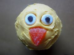 this cupcake is sticking its tongue out!