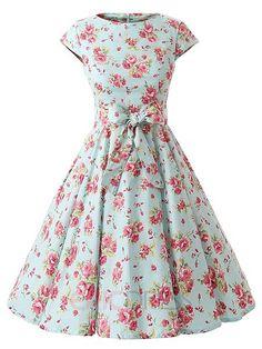 Ericdress Vintage Expansion Floral Print Casual Dress Casual Dresses