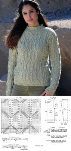 Схемы узоров - Пуловер с ромбами и косами
