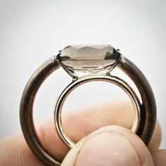 Veronika Blazickova.Unique pinkie ring with Smokey quartz by veroin on Etsy