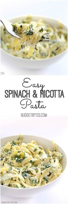 An easy weeknight pasta that takes minutes to make. A simple, creamy, garlicky sauce spiked with spinach for color, flavor, and nutrients. #vegetarian #comfortfood