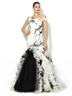 Monique Lhuillier Silk Cascade Printed Ruffle Gown
