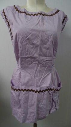 Vintage Shirt Style Apron with Deep Front Pockets Purple Lavendar Cotton Fabric Follow PFANTASTIC PFINDS on Facebook!