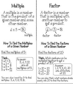 Math Charts, Math Anchor Charts, Fourth Grade Math, 7th Grade Math, Math Strategies, Math Resources, Math Tips, Factors And Multiples, Formation Continue
