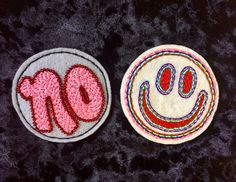 """✌🏽🌈✌🏽🌈 3"""" Patches hand beaded & embroidered ——— 4/25 I'll be at Slippery Slope ! —————————————  #handembroidery #embroidery #handbeaded #bead #beads #beadersofinstagram #modernembroiderymovement #modernembroidery #nomeansno #metoo #smileyface #happy #no"""
