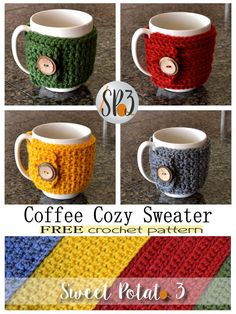 FREE Crochet Pattern Coffee Cozy Sweater : A perfect pattern to practice your beginner crochet stitches. This free coffee cozy sweater pattern includes 4 designs that have different textures. A great way to teach crochet and such a fun gift to give! Crochet Coffee Cozy, Crochet Cozy, Crochet Geek, Crochet Gifts, Free Crochet, Blanket Crochet, Crochet Stitches For Beginners, Knitting For Beginners, Knitting Stitches