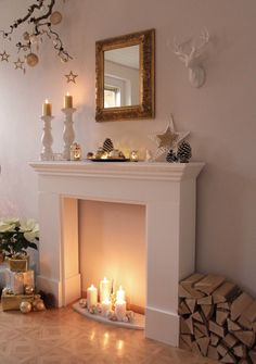 Candles For Fireplace Decor diy faux fireplace with candles makes room warmer and cozy