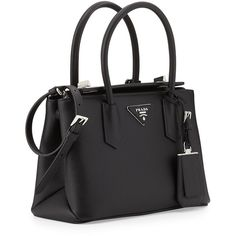 Prada Saffiano Cuir Twin Bag ($2,320) ❤ liked on Polyvore featuring bags, handbags, tote bags, purses, black tote, black leather tote, black tote bag, leather handbags and foldable tote bag