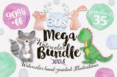 90% OFF - Mega Watercolor Bundle  by Tanya Kart on @creativemarket