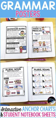 Grammar Posters and Grammar Anchor Charts! Perfect for making teaching grammar more fun and visual. Great for supporting grammar activities for your kids in writing centers or writer's workshop. Types of Sentence Poster | Plural Nouns Poster | Parts of Speech Posters | Parts of Speech Anchor Chart | Adjectives Poster | Nouns Poster | Verbs Poster | Adding ing Poster | Adding ed | Verb Tenses Posters | Grammar for ESL | Grammar ESL | Subject Predicate Poster