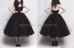 Retro Black Multi-layer Puffy Skirt Tea Length Prom Dress, Short Party dress, Little black dress by RosyFancyWorkshop, $165.00