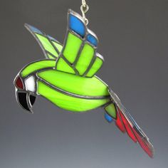 3D Military Macaw Stained Glass Bird by AngelasGlassStudio on Etsy, $32.00