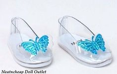 Cinderella-inspired-Princess-Clear-Butterfly-Shoes-Fits-18-034-American-Girl-Doll