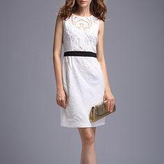 Hot Sale Lace Decorate Charming V-Neck Tight Waist Sleeveless Dress