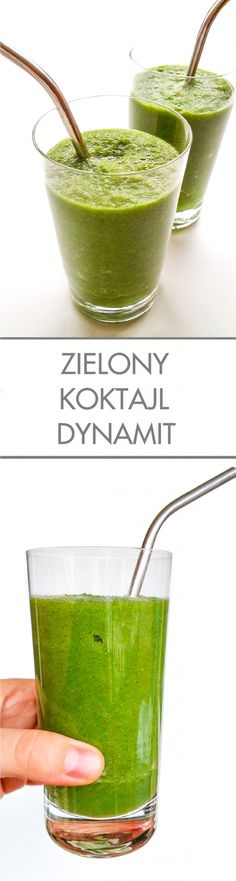 Zielony koktajl dynamit Healthy Smoothies, Serving Bowls, Food And Drink, Cocktails, Fitness, Tableware, Ethnic Recipes, Green, Juices