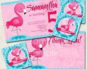 Flamingo Birthday Party Thank You, pink, blue, luau, picnic, Digital File you print. $10.00, via Etsy.