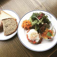 本日の日替わりランチプレートです。  【ハンバーグ・トマトソースと温玉と彩り野菜・バジル風味、ジュレ添え。パン、ドリンク付き】 1200円(税抜き) 宜しくお願い致します。