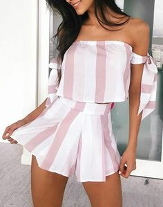 #summer #outfits / striped off the shoulder pink
