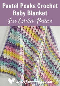 Pastel Peaks Crochet Baby Blanket - free crochet pattern.