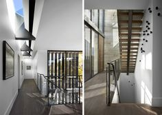dSPACE Wisconsin Modern Riverfront-Modern steel and wood open stair, glass railing, skylights, large windows, tile entry wall, wood floors